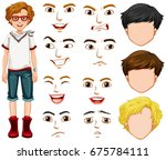 teenage boy and different... | Shutterstock .eps vector #675784111