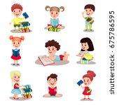 cute smart boys and girls... | Shutterstock .eps vector #675786595