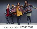 stylish girls in fashionable... | Shutterstock . vector #675802801