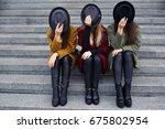 stylish girls in fashionable... | Shutterstock . vector #675802954