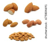 almonds isolated on the white... | Shutterstock . vector #675804691