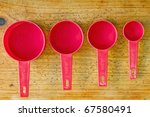 Red Measuring Cups In Different ...
