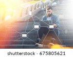 blockchain technology. young... | Shutterstock . vector #675805621