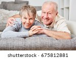 happy senior couple together in ... | Shutterstock . vector #675812881