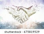 abstract polygonal handshake on ... | Shutterstock . vector #675819529