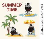 summer time. set happy zebras... | Shutterstock .eps vector #675819961