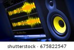 audio editing computer with... | Shutterstock . vector #675822547