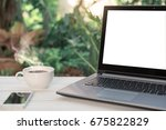 hipster out door workspace... | Shutterstock . vector #675822829