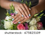 natural nails with beautiful... | Shutterstock . vector #675825109