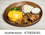 tasty polenta with meat.... | Shutterstock . vector #675828181