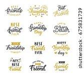 happy friendship day cute hand... | Shutterstock .eps vector #675831739