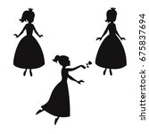 set of silhouettes of princess... | Shutterstock .eps vector #675837694