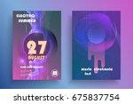 electronic music fest poster.... | Shutterstock .eps vector #675837754