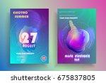 electronic music fest poster.... | Shutterstock .eps vector #675837805