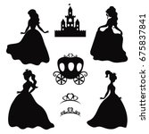 set of silhouettes of princess... | Shutterstock .eps vector #675837841