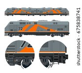 two locomotives coupled...   Shutterstock .eps vector #675838741