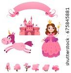 set of pink princess tale ... | Shutterstock .eps vector #675845881