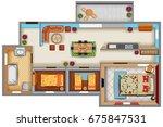 top view of floor plan interior ... | Shutterstock .eps vector #675847531