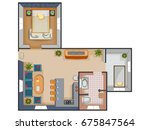 top view of floor plan interior ... | Shutterstock .eps vector #675847564