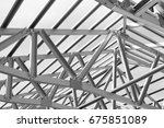 structure of steel roof frame... | Shutterstock . vector #675851089