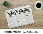 top view mockup newspaper and... | Shutterstock . vector #675853807