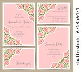 set of wedding cards with hand... | Shutterstock .eps vector #675856471
