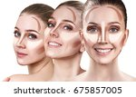 collage of young woman's faces... | Shutterstock . vector #675857005