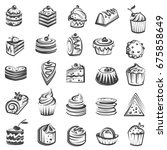 monochrome collection of cakes... | Shutterstock .eps vector #675858649