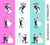 happy couple celebrating... | Shutterstock .eps vector #675860299