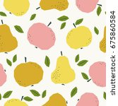 seamless pattern with apples... | Shutterstock .eps vector #675860584