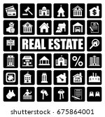 real estate icons set | Shutterstock .eps vector #675864001