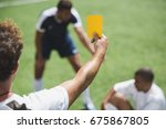 back view of soccer referee... | Shutterstock . vector #675867805