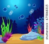 undersea. marine life landscape ...   Shutterstock . vector #675868315