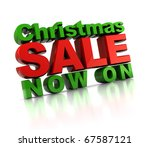 3d illustration of Christmas sale sign, over white background - stock photo