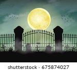 silhouette cemetery graveyard... | Shutterstock .eps vector #675874027