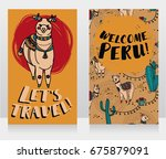 two banner for travel to peru...   Shutterstock .eps vector #675879091