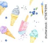 watercolor ice cream on white... | Shutterstock . vector #675879394