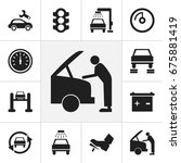 set of 12 editable car icons.... | Shutterstock .eps vector #675881419