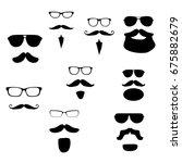 set of vector bearded men faces ... | Shutterstock .eps vector #675882679