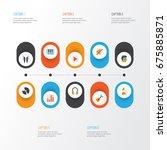 multimedia flat icons set.... | Shutterstock .eps vector #675885871