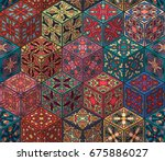 colorful vintage seamless... | Shutterstock .eps vector #675886027