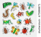 bugs and insects stickers ... | Shutterstock .eps vector #675888871