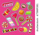 candies  chocolate and sweet... | Shutterstock .eps vector #675889381