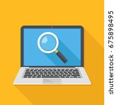 laptop with magnifying glass on ... | Shutterstock .eps vector #675898495