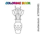 flowers tulip in vase  ... | Shutterstock .eps vector #675900481