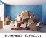 the heap of the cardboard boxes ... | Shutterstock . vector #675901771