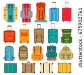 set of suitcases and backpack... | Shutterstock .eps vector #675902761