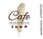 cafe logo in vintage style over ... | Shutterstock .eps vector #675905737