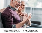 smiling senior couple with pill ... | Shutterstock . vector #675908635