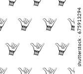 shaka hand seamless pattern... | Shutterstock .eps vector #675913294